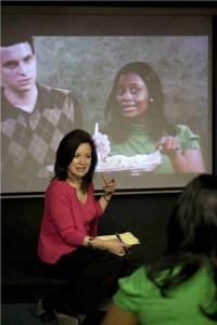Penny teaching on the big screen